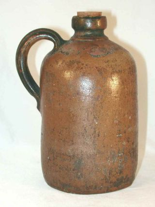 Old Primitive Brown Gray Salt Glazed Stoneware Undecorated Jug W/ Applied Handle