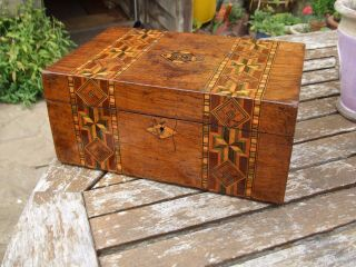 Antique Inlaid Jewellery Box Lovely Patina Great Colours,  Very