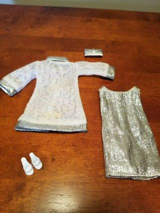 Vintage Barbie Japanese Exclusive Clone Silver White Lace Dress,  Shoes And Purs