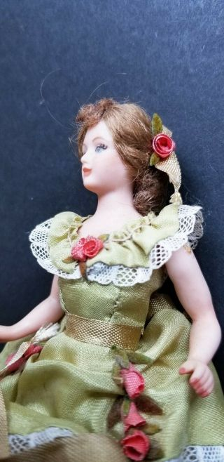 VINTAGE ARTISAN PORCELAIN LADY DOLL IN GREEN DRESS WITH LACE 3