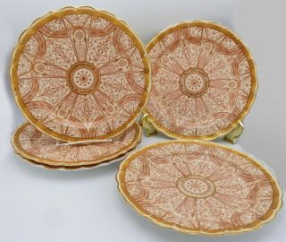 Set Of 4 Antique 1887 Royal Worcester Plates Elaborate Red Gilt Pattern