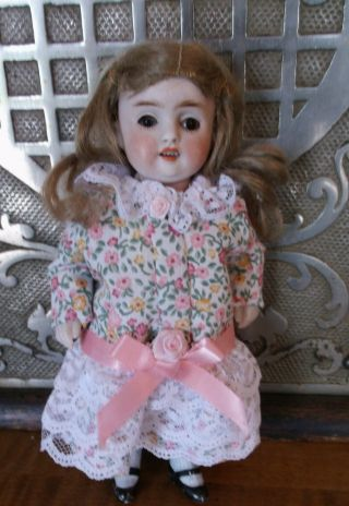 "7 1/2 "" Antique All Bisque Jointed Doll With Open Mouth (w/teeth) /sleep Eyes"