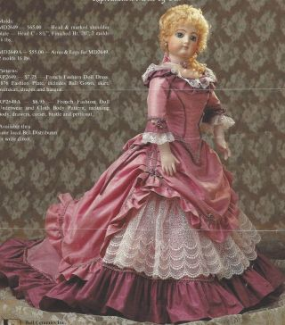 "20 "" Antique F.  Gaultier French Fashion Doll@1876 Ball Dress Drape Basque Pattern"