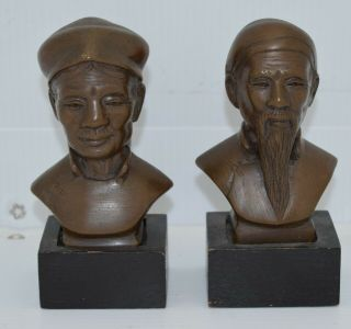 """Set Of 2 Vintage Chinese Bronze Statue Figure Head Bust 4 """" Tall W/stands Heavy"""
