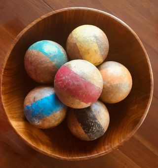 "Set Of 6 Antique Vintage Wood Croquet Balls Single 1 - Stripe 3.  25 "" Diameter"