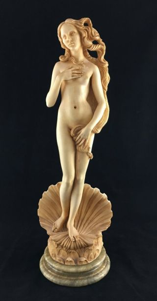 "Vintage Birth Of Venus Botticelli Sculpture 16 "" On Marble Base By A Giannelli"