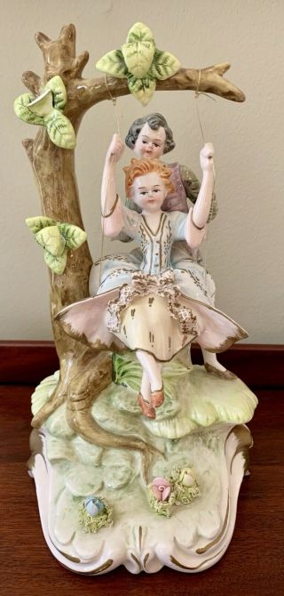 Mid 1800's Antique Italian Capodimonte Signed Boy & Girl On Swing Figurine