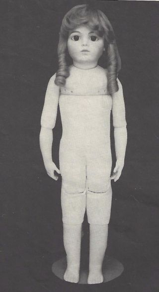 """24 """" Body) Antique Bru Jne 13 Muslin/leather/cloth Child Doll Jointed Body Pattern"""
