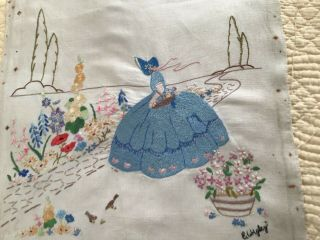 "Hand Embroidered Picture Crinoline Lady On Linen 20"" X 22"" Approx - Unframed"