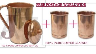 Pure Copper Ayurvedic 1.  5ltr Water Storage Jug With 2 Copper Glasses Combo