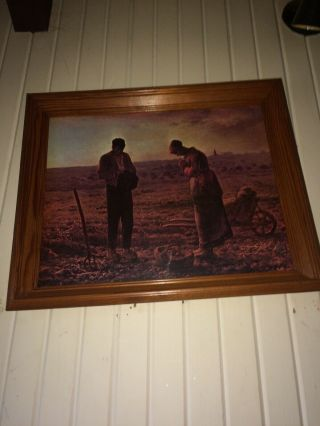 "Large Antique Thick Wooden Framed Litho Jean Francis ""the Angelus"" 23"" X 19"""