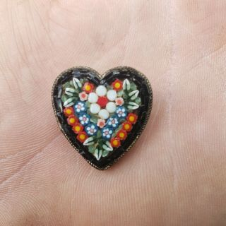 Fine Antique Micro Mosaic Pin Charming Heart Shape Italy Very Detailed Floral