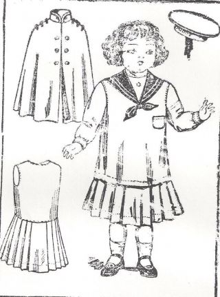 "18 - 20 "" Antique French Jumeau Doll@1900 Sailor/middy Dress Cape Hat Pattern German"