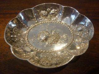 Early 20th Century Continental 830 Solid Silver Pin Dishes Cross Crown Fleur De