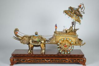 Chinese Enameled Silver Filigree Figural Group - Elephant,  Lady & Carriage,  Gilt