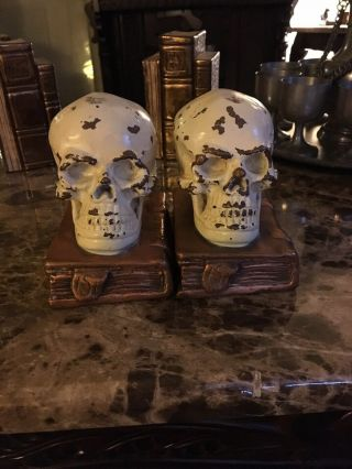 Antique Bronze - Clad Skull And Grimoire Bookends By Armor Bronze Co,  Circa 1922