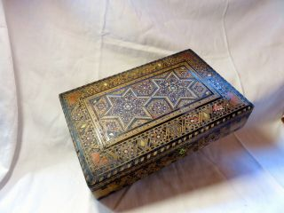 An Antique Micro - Mosaic Eastern Wooden Box