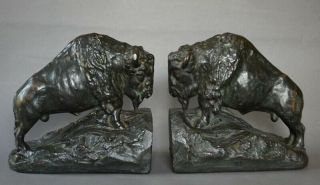 Exquisite Bronze Clad Arts & Crafts Buffalo Bison Book Ends Early 1900s