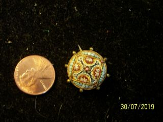 Vintage Antique Micro Mosaic Petite Pin Flower Very Old But Beauty