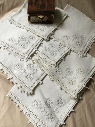 Set Of 6 Antique Vintage 100 Linen Napkins Hand Made Lace White Embroidery