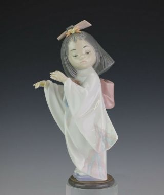 Retired Lladro Spain Playing The Flute 6150 Geisha Girl Porcelain Figurine Sms