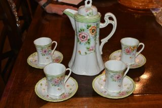 Nippon Hand Painted Chocolate Set With Four Cups/saucers