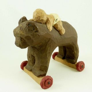 Carved Wood Baby On Ride On Bear Toy Figurine Wood Carving Folk Art By W Wright