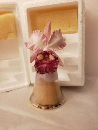 The Franklin 1987 Porcelain Orchid Flower And Glass Bell