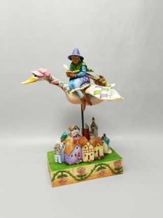 "Enesco Jim Shore Rhyme Time Mother Goose Flying Over Town Large 10 1/2 "" Figure"