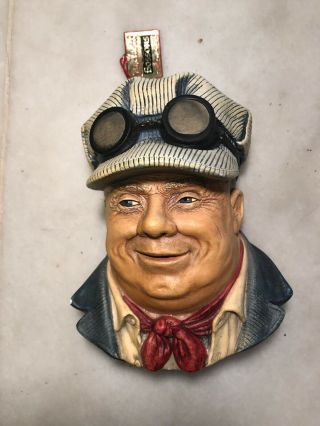 """Vintage Bossons Head Wall Plaque,  """"engineer"""" Made In England.  With Gold Tag"""