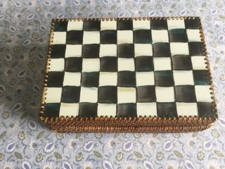 Mackenzie - Childs Rattan And Enamel Hinged Box,  10x7x3.  5,  Courtly Check Pattern