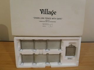 Dept 56 Village Accessories - Chain Link Fence With Gate - Set Of 3