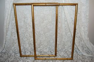 """2 Vintage Faux Bamboo Picture Frames,  Gold Wood 21 """" X 14 """" Gilt,  Mid Century Pair"""