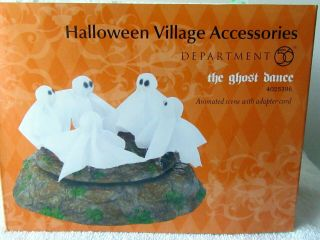 "Dept 56 Halloween Vlge Accessories "" The Ghost Dance "" Animated W/adapter Vgc"