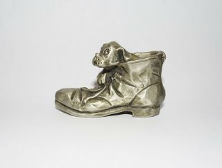"Hallmark Little Gallery Pewter Dog In Shoe "" No One Else Can Fill Your Shoes """