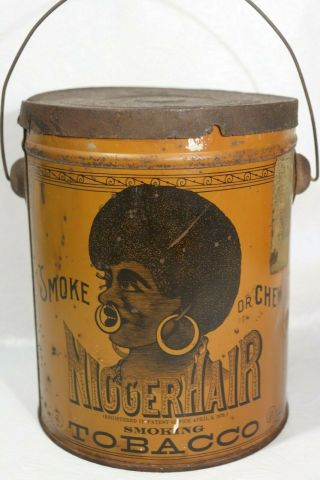 Pre Bigger Hair Tobacco Tin Black Americana B.  Leidersdorf Co.  Milwaukee,  Wi Lid