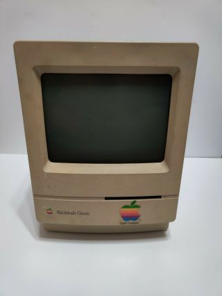 Vintage 1991 Macintosh Classic M1420 Apple Computer With Keyboard And Mouse
