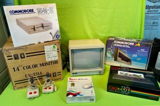 Commodore 64 Computer System W/ 1541 - Ii Drive,  Ev - 2114 Color Monitor,  Printer,