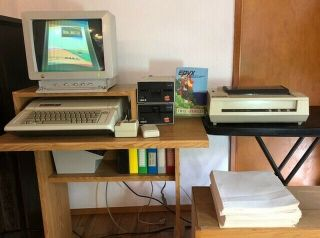Apple Iie Computer,  Printer,  Joysticks And Games