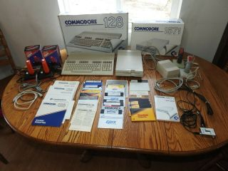 Commodore 128 Computer & 1571 Disk Drive In Boxes With Games & Joysticks