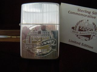 Vintage 1992 Zippo Lighter 60th Anniversary Sterling Employee Lighter