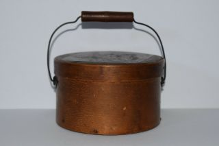 Antique Small Wooden Round Band Box With Decorated Lid And Bail Handle
