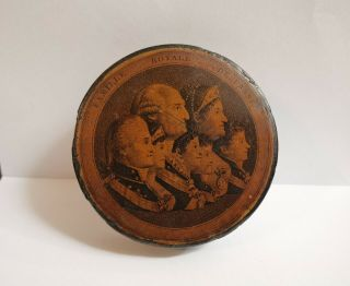 Antique 19thc Papier Mache Snuff Box - Royal Family Spain - King Charles Iv