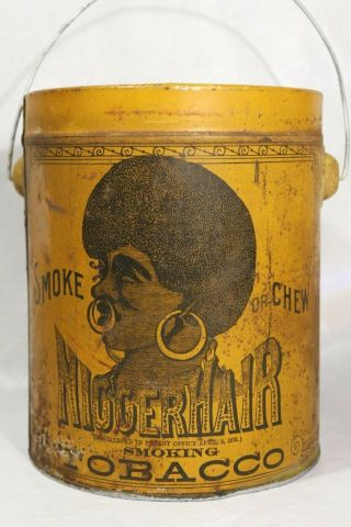 Pre - Bigger Hair Tobacco Tin Black Americana B.  Leidersdorf Co.  Milwaukee,  Wi