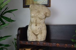 Early 20th Century Distressed Plaster Bust Of Female Nude Body