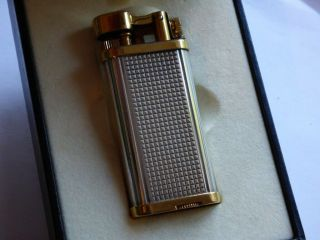 Dunhill Unique Lighter - Silver Plated Hobnail With Gold Plated Trim,  Boxed
