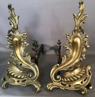 Pair (2) Antique French Bronze Old Louis Xvi Style Fireplace Victorian Andirons