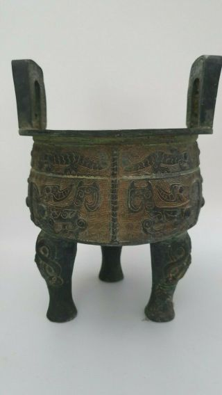 Antique Chinese Bronze Ding Tripod Censer - Snakes