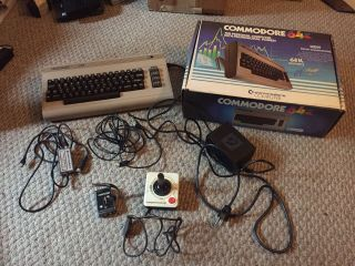 Vintage Commodore 64 Personal Computer With Box Powers On