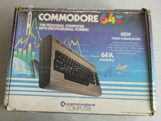 W/box Vintage Commodore 64 Personal Computer With Power & Rf Cords